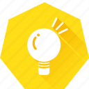 eureka, heptagonal, idea, lightbulb, muse, think icon