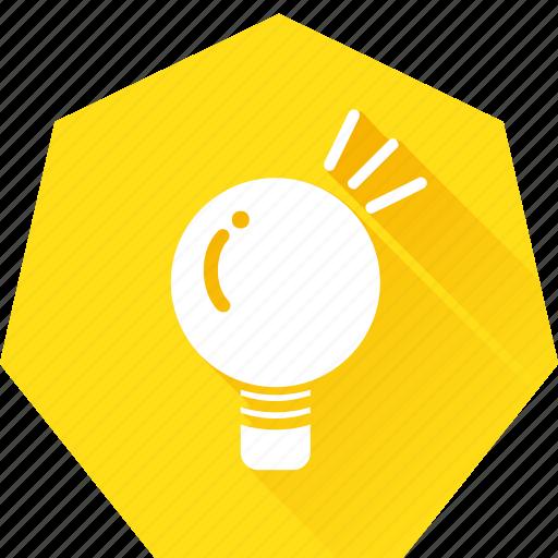 eureka, heptagonal, idea, lightbulb, muse, think icon