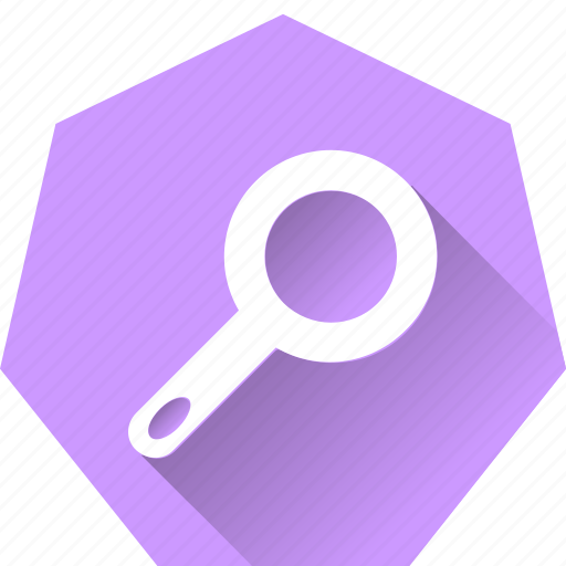 clue, find, heptagonal, inquiry, magnifying glass, search icon