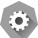 cog, gear, heptagonal, option, settings, system icon