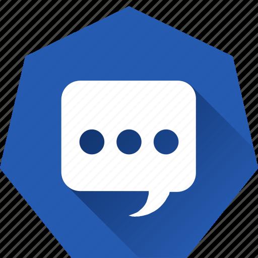 chat, heptagonal, message, speak, talk icon