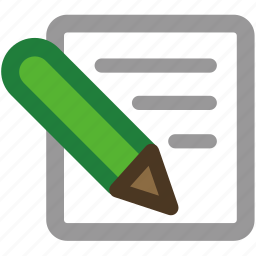 edit, entry, paper, pen, pencil, post, posting, sheet, text, write, writing icon