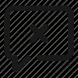 comment, delete, discard, message, negative, remove, text icon