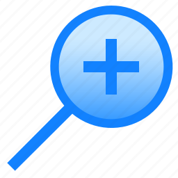 glass, in, lens, loupe, magnifier, plus, zoom icon