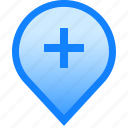 add, delete, geolocation, map, mark, plus, tag icon