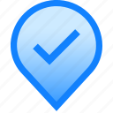 added, done, downloaded, geolocation, mark, pin, tag icon