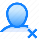 avatar, cross, delete, human, man, profile, user icon