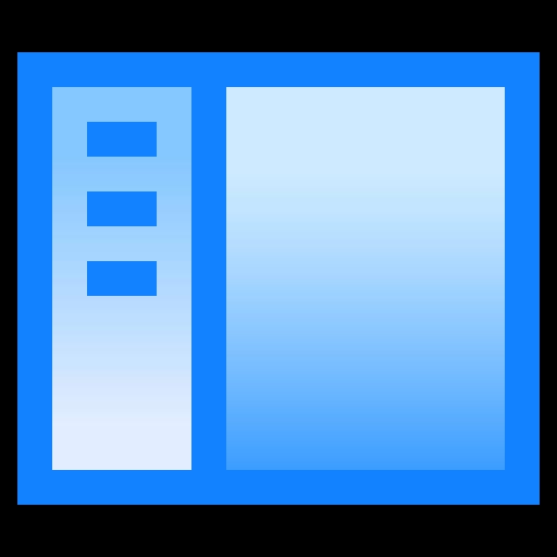 interface, left, menu, sidebar, window icon