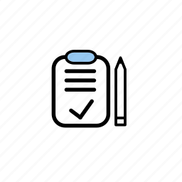 and, clipboard, pencil icon
