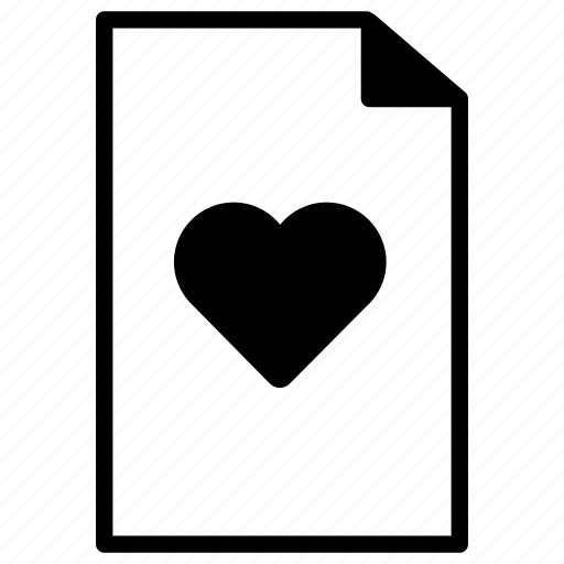 bookmark, document, documents, favorite, favourite, heart, line, paper icon