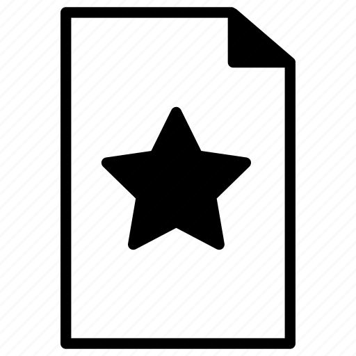 document, documents, file, line, paper, star icon