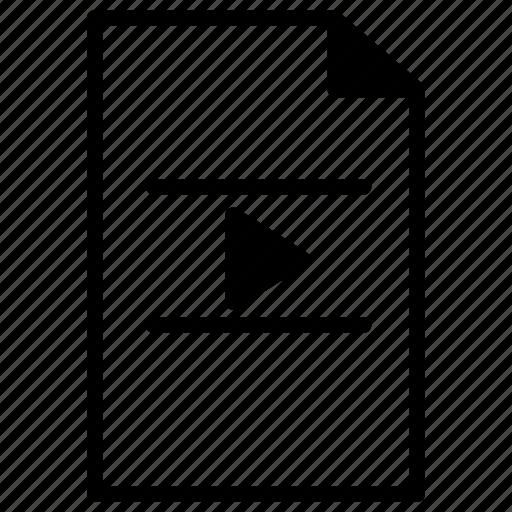 document, file, film, line, movie, paper, video icon
