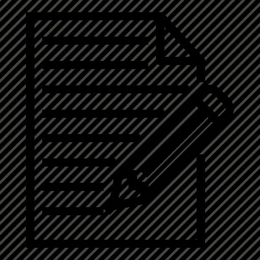 contract, paper, pencil icon