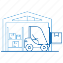 forklift truck, logistics center, storehouse, warehouse icon