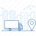 city, delivery, shipping, truck icon