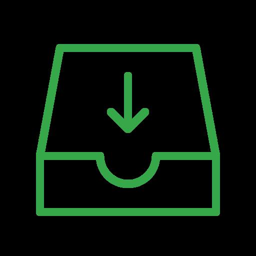 arrow, down, email, inbox, mail, recieve, storage icon