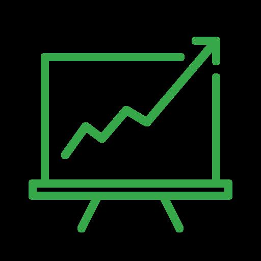 analytics, blackboard, efficiency, growth, presentation, report, statistics icon