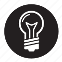 idea, lightbulb, roundglobe icon
