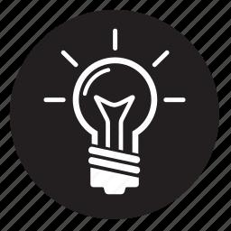 idea, light, lightbulb, on, roundglobe icon