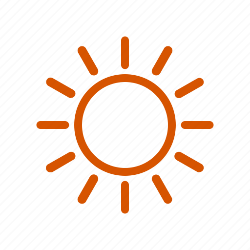 bright, hot, orange, season, summer, sunny, weather icon