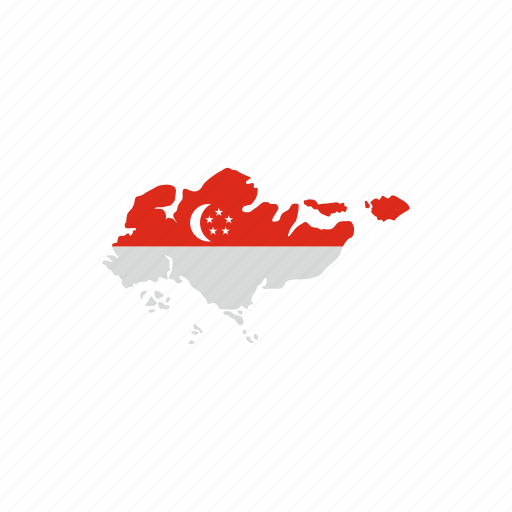 asia, country, flag, geography, map, singapore, travel icon