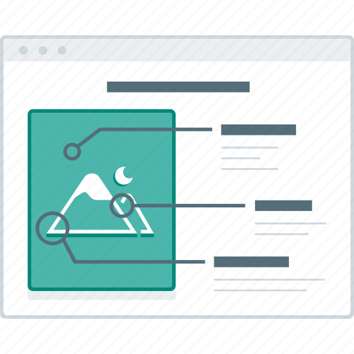 detail, feature, layout, page, product, website, wireframe icon