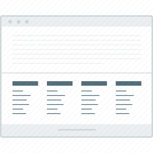 browser, footer, layout, page, website, wireframe, workflow icon