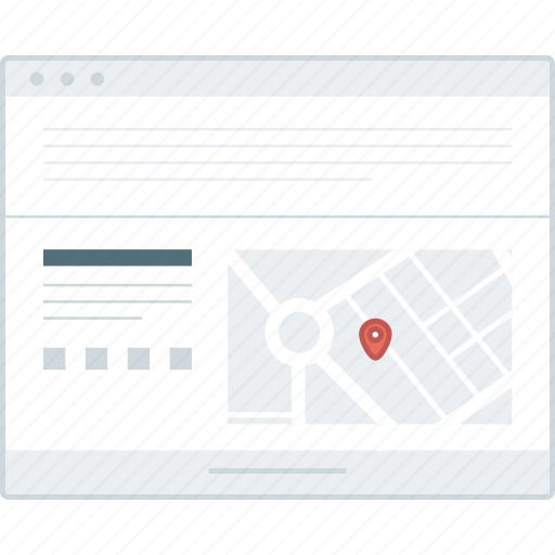 browser, footer, layout, map, page, website, wireframe icon