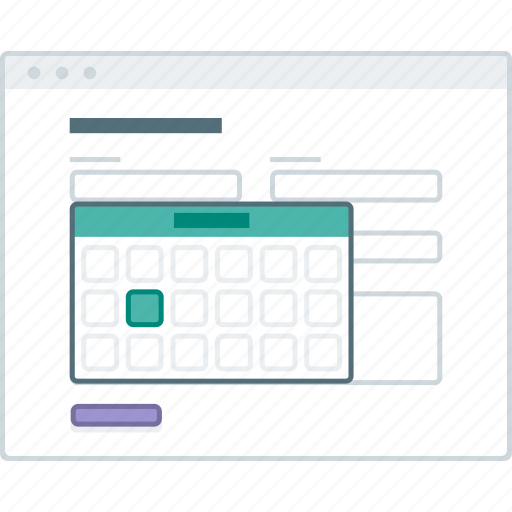 browser, datepicker, form, layout, page, website, wireframe icon