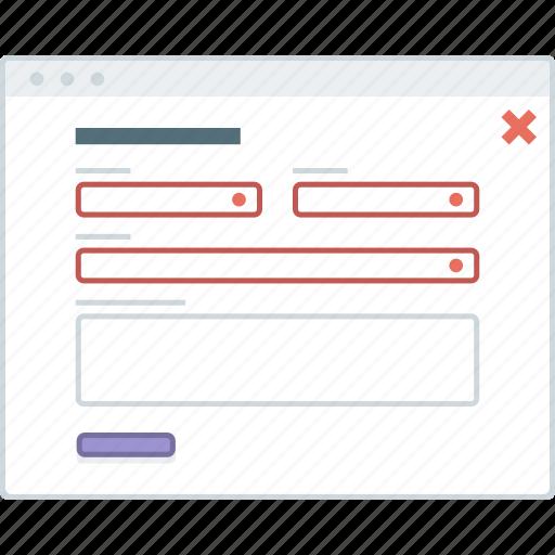 error, form, layout, page, website, wireframe, workflow icon