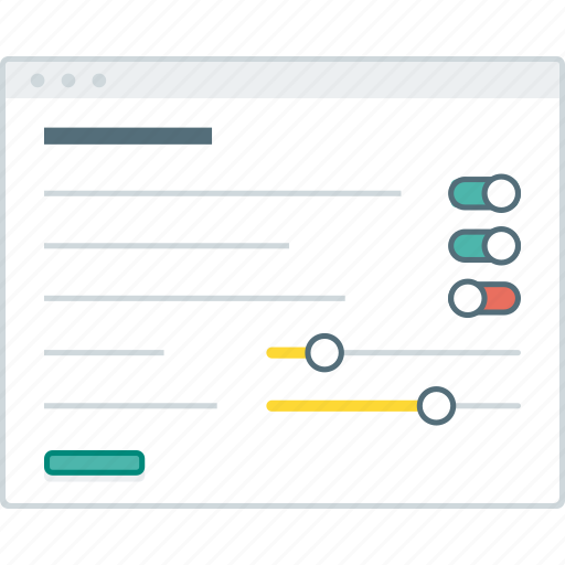 browser, forms, layout, page, settings, website, wireframe icon