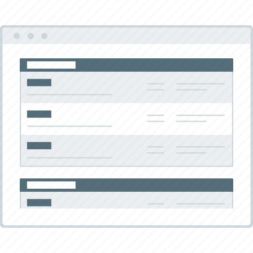 browser, forums, layout, page, website, wireframe, workflow icon