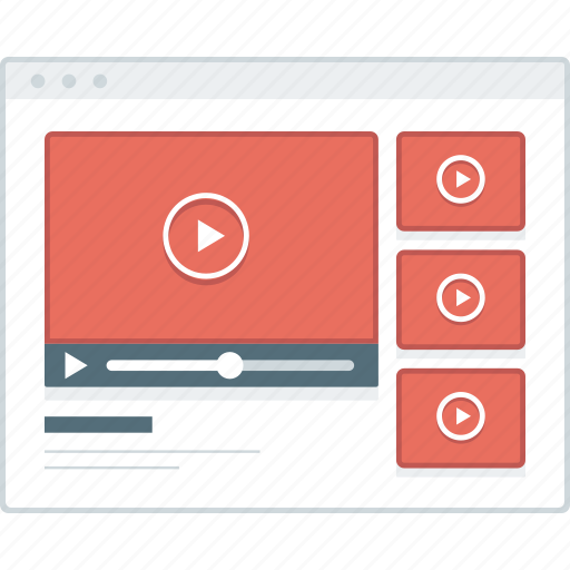 browser, gallery, layout, page, video, website, wireframe icon