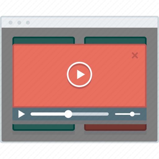 browser, layout, modal, page, video, website, wireframe icon