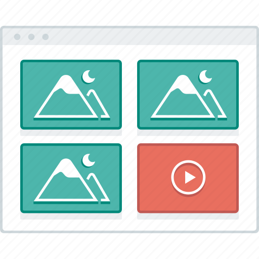 browser, gallery, layout, page, website, wireframe, workflow icon