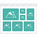 browser, gallery, layout, masonry, page, website, wireframe icon