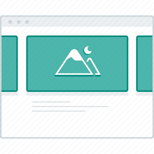 browser, gallery, layout, page, slider, website, wireframe icon