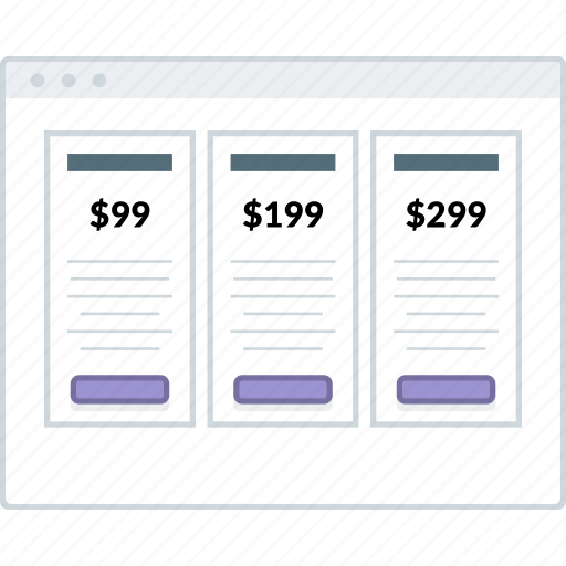browser, layout, page, price, table, website, wireframe icon