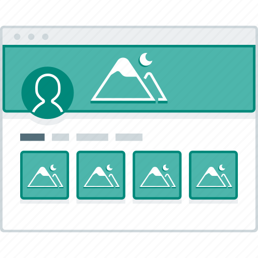 browser, layout, page, photo, social, website, wireframe icon