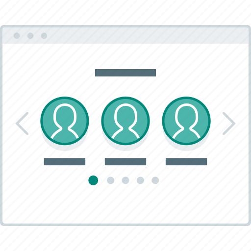 browser, layout, page, slider, team, website, wireframe icon