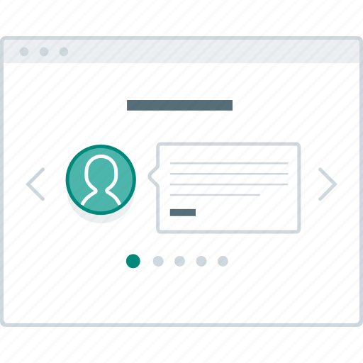 browser, layout, page, slider, testimonial, website, wireframe icon