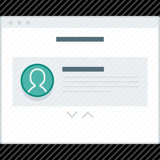 layout, page, slider, testimonial, website, wireframe, workflow icon