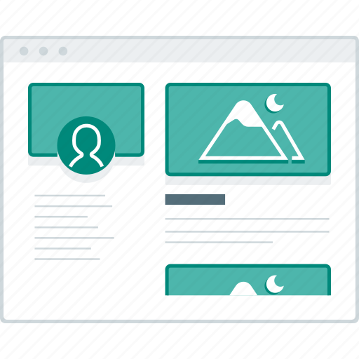 browser, layout, page, social, website, wireframe, workflow icon