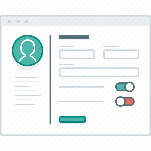 form, layout, page, settings, social, website, wireframe icon