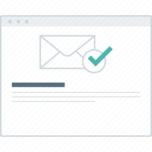 activate, email, layout, page, success, website, wireframe icon