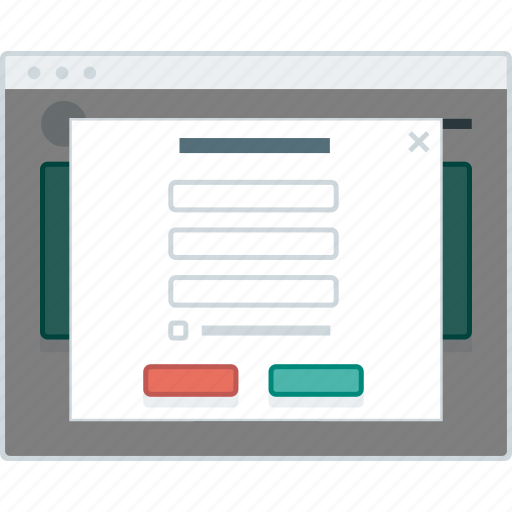 form, layout, page, popup, sign up, website, wireframe icon