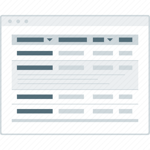 browser, expanded, layout, page, table, website, wireframe icon
