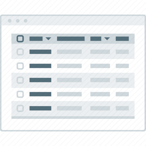 browser, layout, page, table, website, wireframe, workflow icon