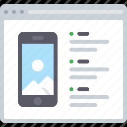 features, flowchart, list, phone, sitemap, web icon