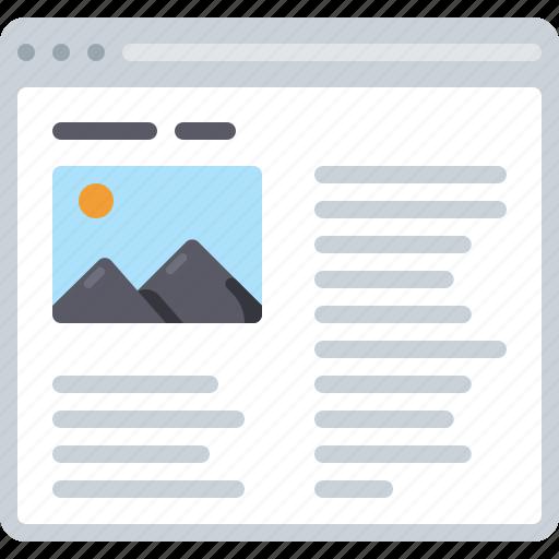 article, blog, flowchart, photo, sitemap, text, web icon
